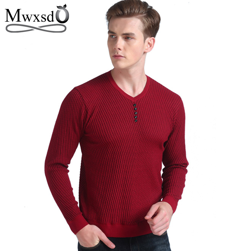 Mwxsd spring autumn brand men casual sweater mens cashmere for Mens red wool shirt
