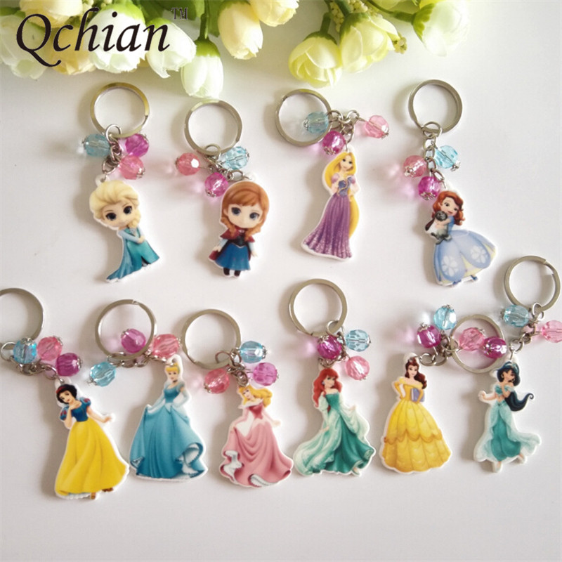 Anime Belle Keychain Jasmine Elsa Ariel Princess Series Acrylic Key Chains Holder Pendant Keyring HandBag Ornaments Kids Gift