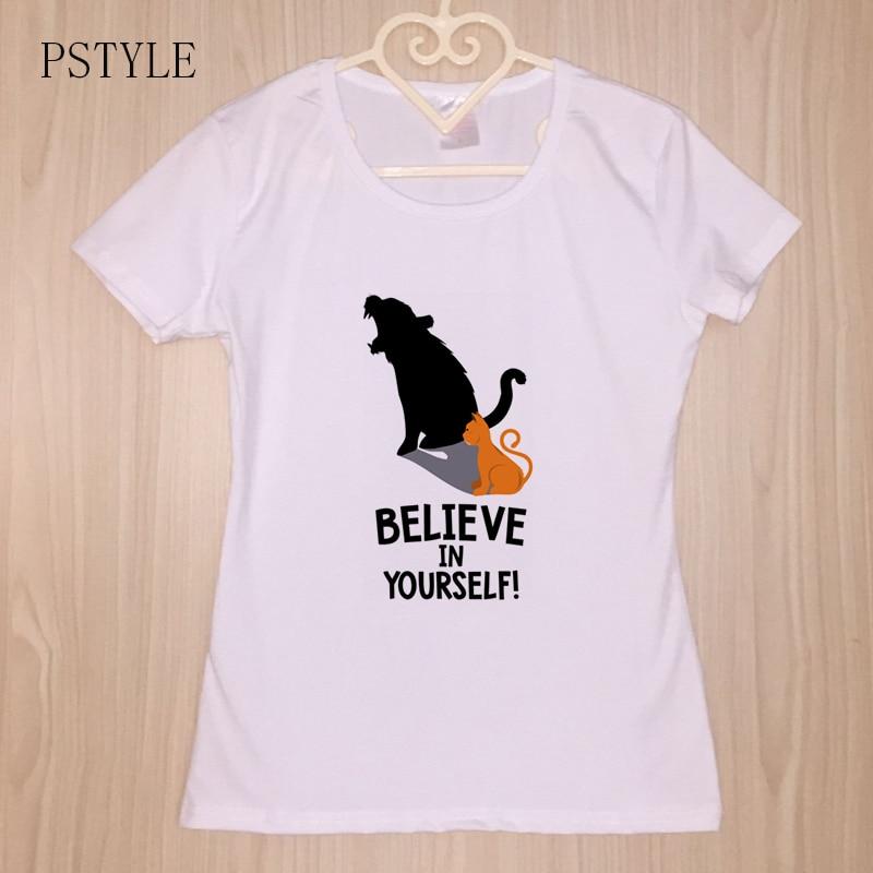 1940adcd94615 PSTYLE Cat верим в себя тигра футболки Для женщин Футболка Harajuku  Забавный Футболка короткий рукав модал