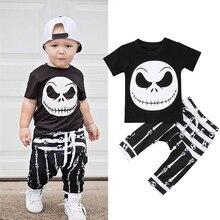 Summer Boys Clothes 2Pcs Set arrival Streetwear Black White Avatar Print Short Sleeve Pullover T-Shirt and Striped Long Pants