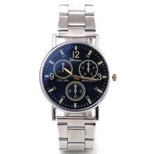New neutral watch female bright blue glass three eye steel belt mens quartz Chronograph