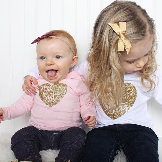 2018 Spring Infant Baby Girls Clothes Toddler 2Color Pink White Love Sister Print  Hooded Romper Sweater Tops Children Clothes