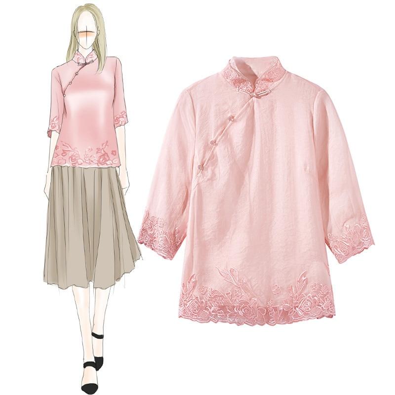 Top Dentelle Vêtements Femelle Élégante 2019 Femmes Longues Qualité À Col Tang Confortable Manches Supérieure Soie Rose Chemise Mandarin 8nOPZNkX0w