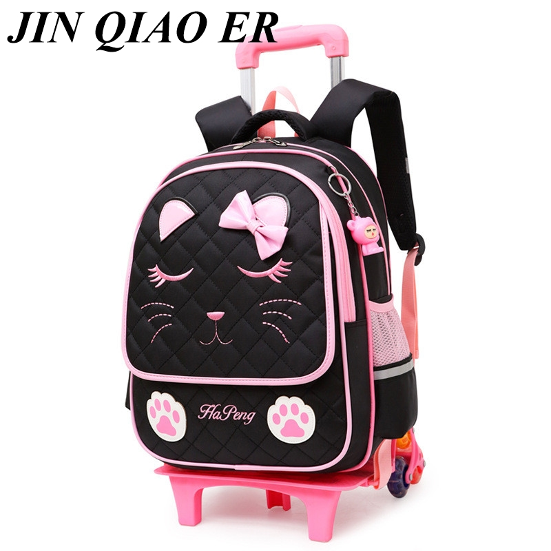 Latest Removable Children School Bags 2/6 Wheels for Girls Trolley Backpack Kids Wheeled Bag Bookbag travel luggage Mochila-in School Bags from Luggage & Bags    1