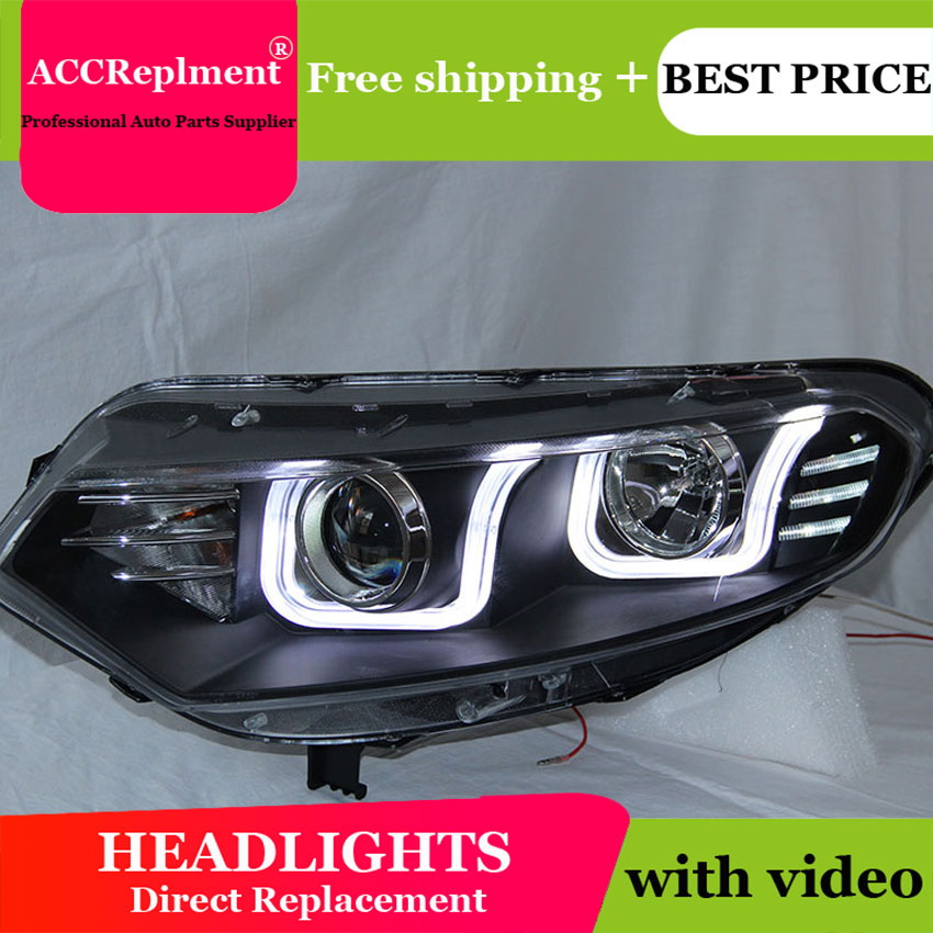 car styling For Ford EcoSport headlights U angel eyes 2013 For Ford EcoSport LED light bar