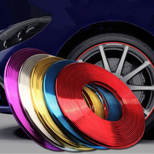 8M/ Roll Car Wheel Rim Sticker Chrome Wheel Decoration Auto Tire Rims Plated Strip Protection Decoration Car-styling Exterior