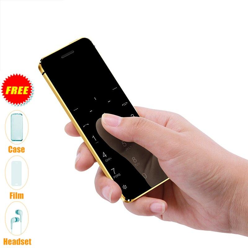 Ulcool V36 ultra-mince carte de crédit téléphone portable métal corps Bluetooth Dialer téléphone portable FM MP3 double carte SIM Mini téléphone Mobile P052