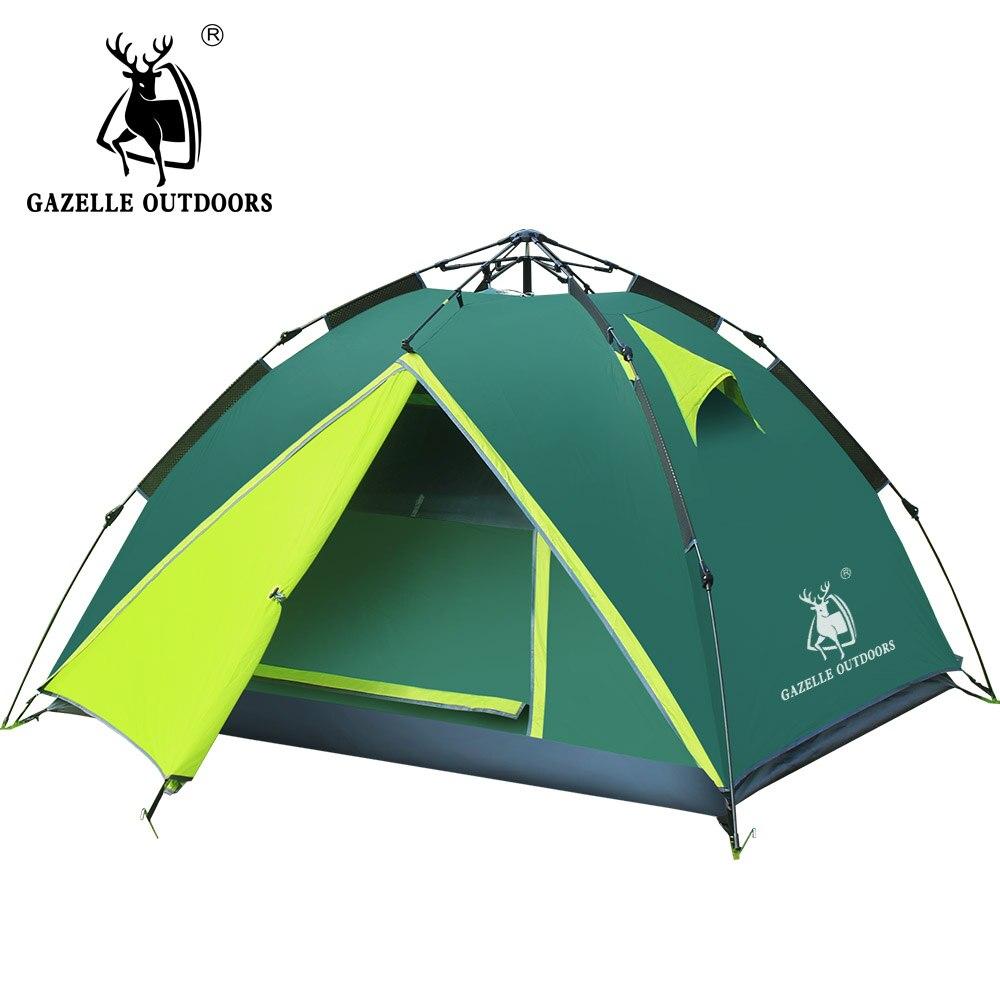 GAZELLE 3-4 personnes camping tente étanche Double couche randonnée grande famille tentes haute montagne extérieure tente hydraulique