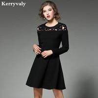Hepburn Women Little Black Dress Vetement Femme 2017 Vestiti Donna Autumn Hollow Flower Embroidery Dress Dames