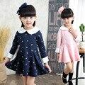 Brand New Baby Girls Vestidos de Patrón de Puntos Arco Collar de la Muñeca Del Niño Del Vestido de la Manga Completa Otoño Primavera Niños Pequeños Príncipes Ropa