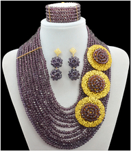 2016 Fashion Purple Jewelry Sets African Beads Nigerian Wedding African Beads Necklace Set African Jewelry Set Jewellery