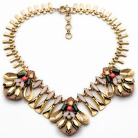 2014 New Vintage Brand Gold Leaves Choker Statement Women Pendant Necklace Collar Fashion Jewelry