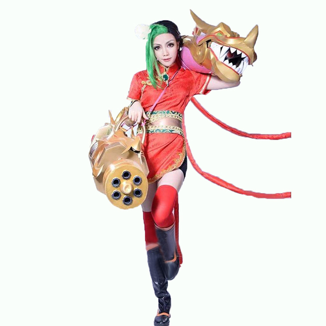 LOL The Loose Cannon Firecracker Jinx Cosplay Costume with hand covers and socks  Anime Red Custom cfe8445e6999