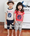 Free shipping summer boy clothes cheap price children bodysuits boy girl clothing set T shirt + pants