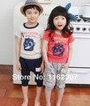 Verão roupas crianças roupas de menina conjunto camiseta + calças