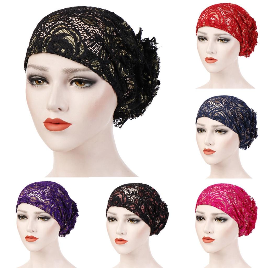 Scarfs For Ladies Muslim  Lace Floral Muslim Ruffle Cancer Chemo Hat Beanie Turban Head Wrap Cap W625