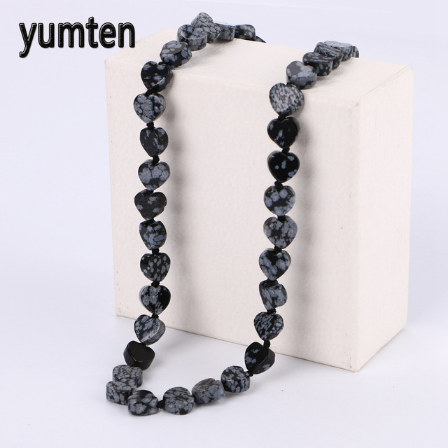 Yumten Alabaster Heart Power Necklace Square Stone Natural Crystal