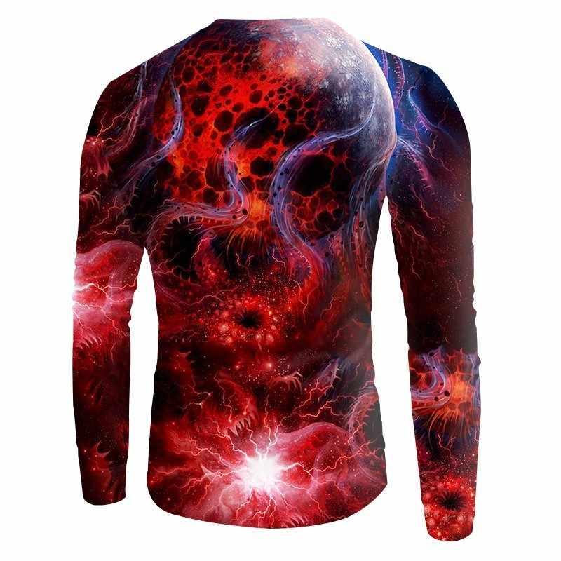 OGKB новые красные толстовки с космическим галактическим принтом для мужчин/женщин 3d свитшоты принт Туманность облака повседневные пуловеры осень зима хип-хоп свитера, топы