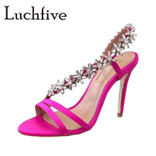 e31ca2c25 Flora Crystal Thin High Heels Women Sandals Open Toe Silk Runaway Party  Shoes Woman Silver Sexy Slip On Jewel Gladiator Stiletto