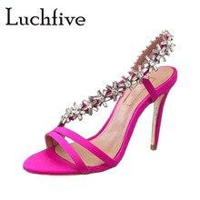 1b1f21d66 Flora Crystal Thin High Heels Women Sandals Open Toe Silk Runaway Party  Shoes Woman Silver Sexy Slip On Jewel Gladiator Stiletto
