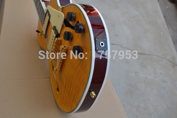Factory custom shop 2017 new Custom Jazz Hollow Body Electric Guitar yellow tiger stripes electric guitar Free shipping (HAI 5
