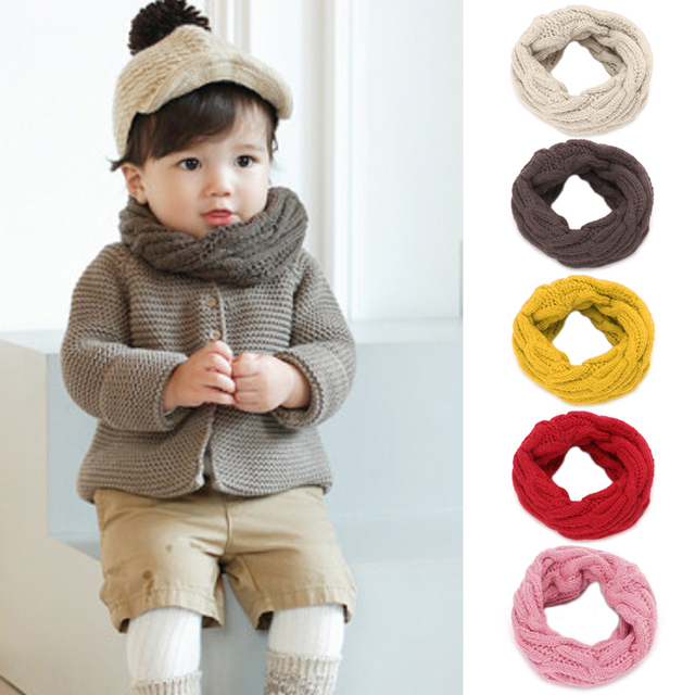 3a3d151c342 1pcs Winter Warm Knitting Scarf Soft Candy Colors Scarf For Kids Boy Girl