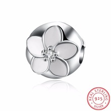 100% 925 Sterling Silver Darling Daisy Clip Charms Beads Fit Original Bracelet Necklace Authentic Fine DIY Jewelry Gift P127
