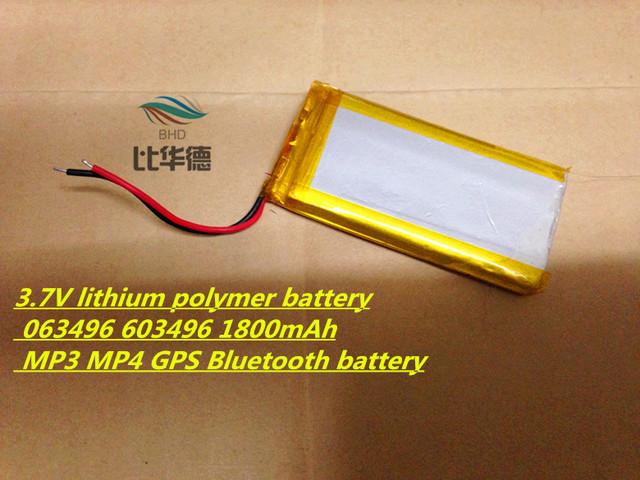 3.7 V batería de la tableta 063496 603496 1800 mAh MP3 MP4 GPS Bluetooth 6*34*96mm batería de litio pequeño equipo de música bluetooth