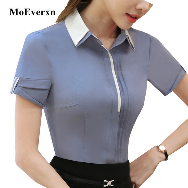 Shirts Women Double Collar Blouse Short Sleeve Shirt 2017 Summer Las Office Causal Tops For