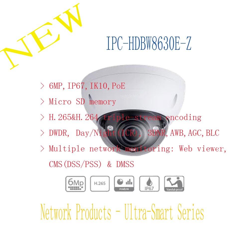 DAHUA Security IP Camera 6MP FULL HD IR Dome Network Camera IP67 IK10 with POE without Logo IPC-HDBW8630E-Z free shipping dahua cctv camera 4k 8mp wdr ir mini bullet network camera ip67 with poe without logo ipc hfw4831e se