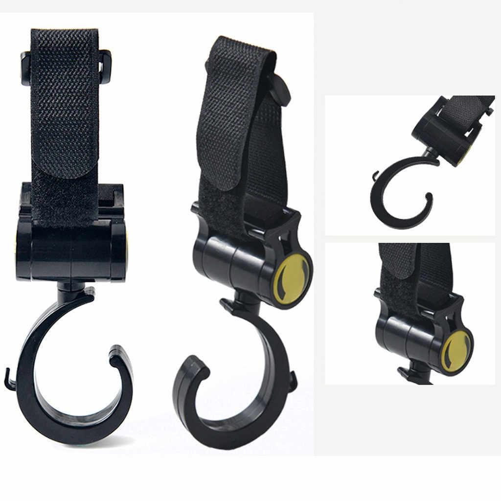 TELOTUNY 2PCS รถเข็นเด็ก hook อุปกรณ์เสริม 360 องศา hook ร่มสติกเกอร์ Hook ผ้าอ้อมเด็กทารกอเนกประสงค์กระเป๋า Hooks Hanger Z0531