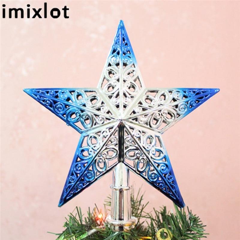 Imixlot műanyag szép fényes csillag tetején felső dísz Xmas karácsonyfa díszítés dísz Xmas dekorációs kellékek 4 színben
