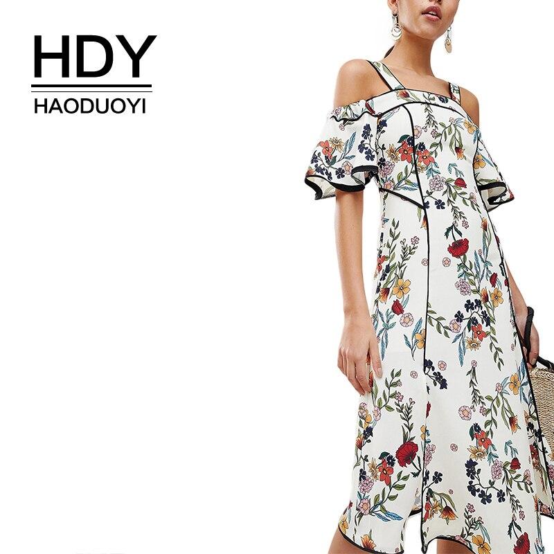 HDY Haoduoyi Для женщин богемный Цветочный принт миди с открытыми плечами ремень Slash шеи рюшами короткий рукав сбоку Разделение Обёрточная бумаг...