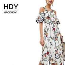 HDY Haoduoyi Women Bohemian Floral Print Cold Shoulder Midi Strap Slash Neck Ruffle Short Sleeve Side Split Wrap Summer Dress