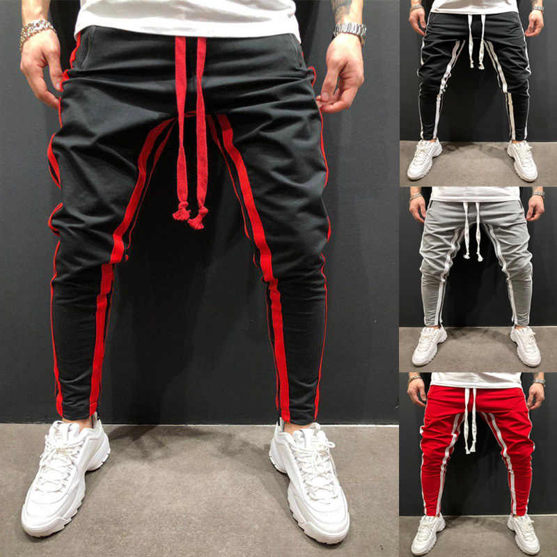 New European And American Men's Leisure Fitness Stitching Zipper Foot Sports pants jogger Running Fitness Fashion pants