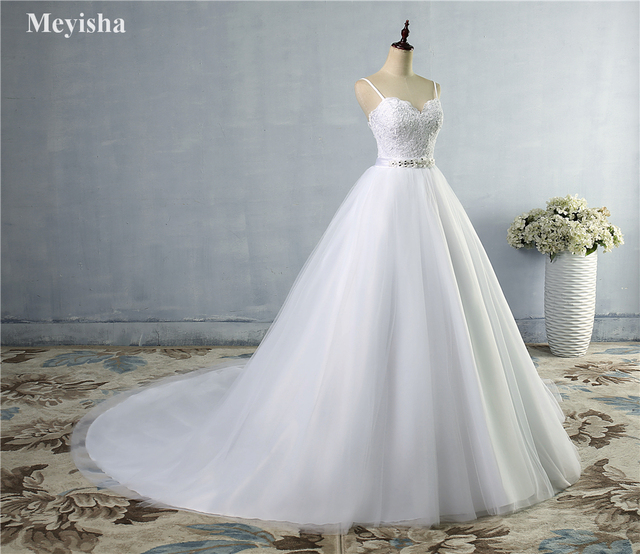 9046 Lace White Ivory Wedding Dresses with train for Brides Elegant ...