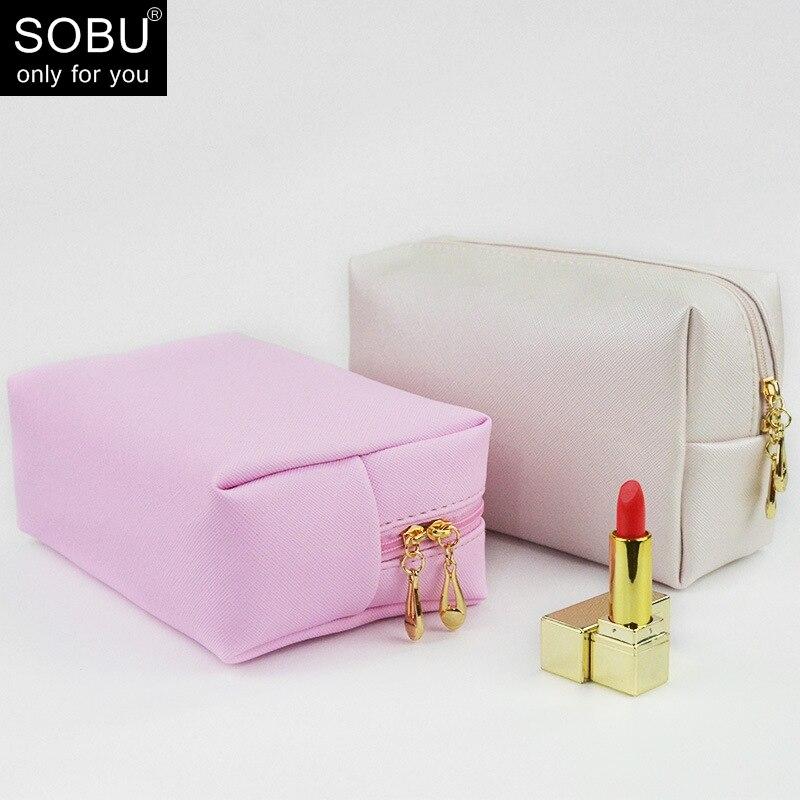 Travel Cosmetic Bag PU Makeup Case Women Zipper Hand Holding Make Up Handbag Organizer Storage Pouch Toiletry Wash Bags