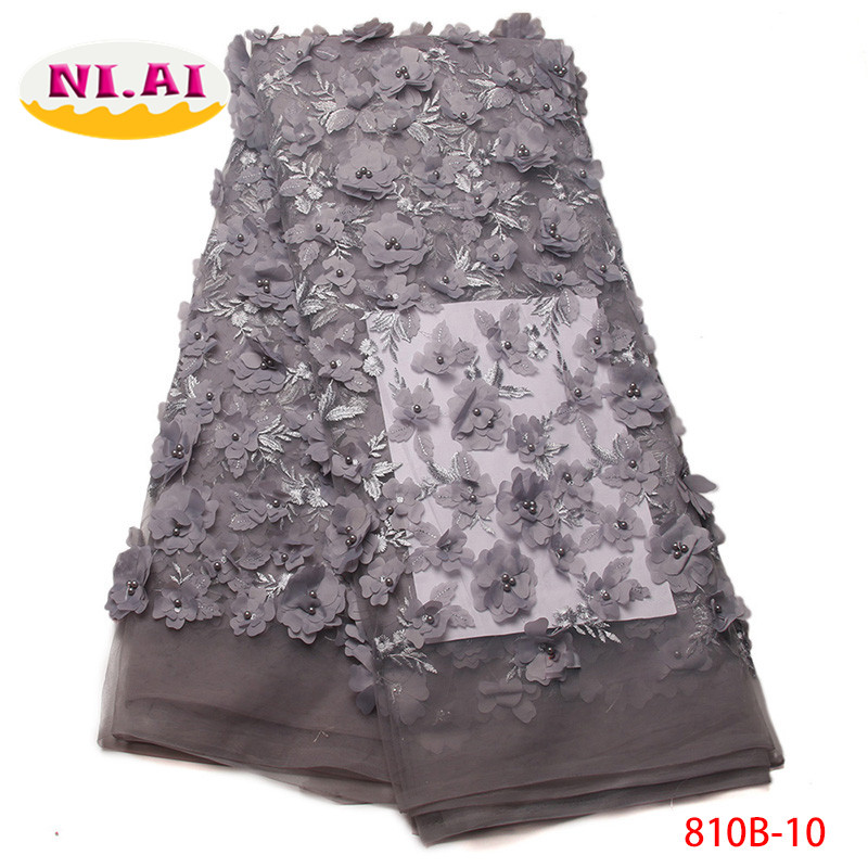 Nigerian Lace Fabrics For Wedding 2017 African French Lace Fabric High Quality 3D Lace Grey Lace