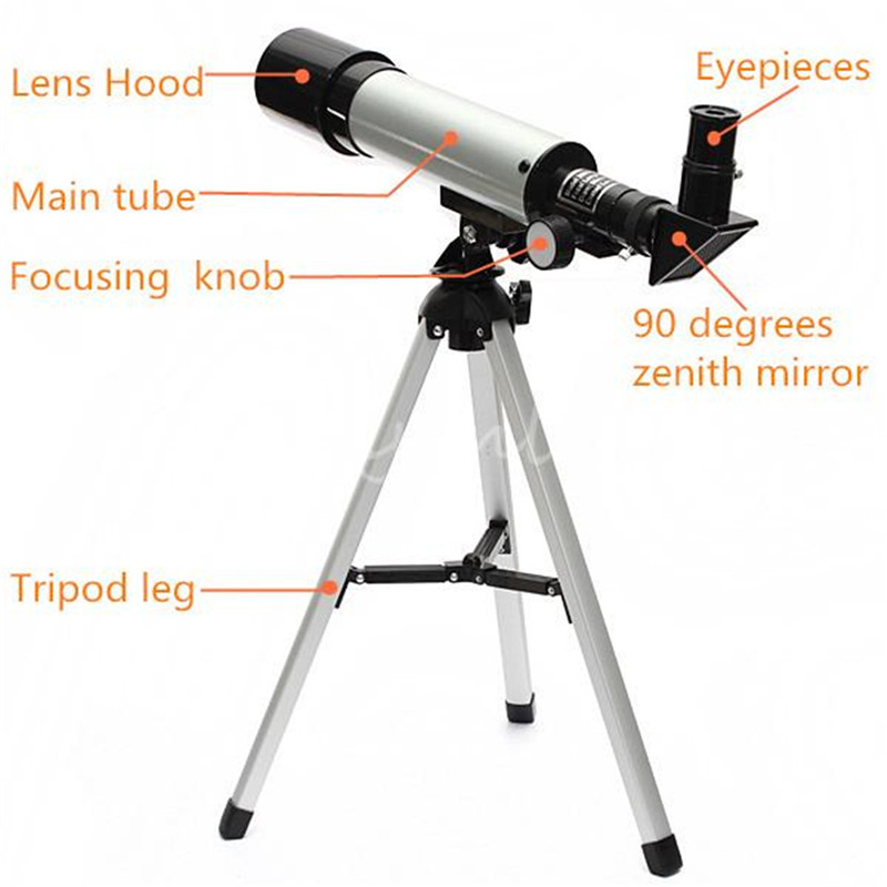 High Quality F 360 x 50 Refractive Astronomical Telescope Monocular With Tripod Spotting Scope 360/50mm Outerdoor Tools