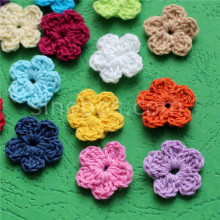 100 colorido artesanal de algodão, crochê flores, colcha, scrapbook, diy 3d artesanato tecido de malha flor aplique decoração roupas