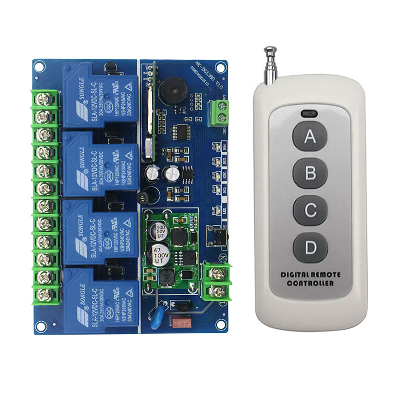 Wide voltage 12V 24V 36V 48V 4CH 30A RF Wireless Remote Control Relay  Switch Security System Garage Doors Electric Doors(04F)