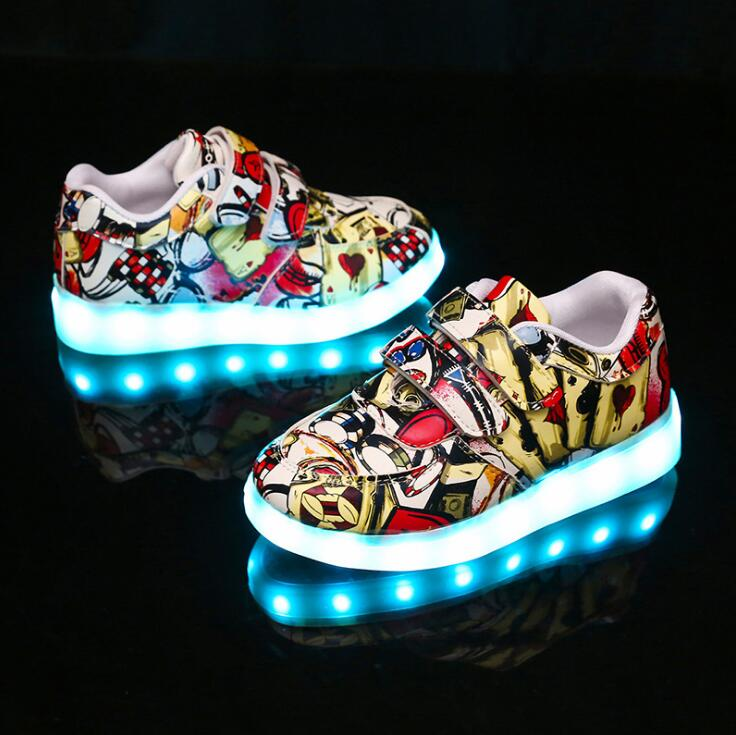 EUR 25-35 Luminous Sneakers USB Charge Led Children Shoes Boy Girl Men Women Glowing Tennis Kids Light up Shoes