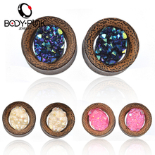 BODY PUNK 2Pcs Flesh Tunnels Ear Plugs Lava Wood Piercing Pink/Blue/White Ear Expander 6mm-16mm Pircing Body Jewelry PLG 050