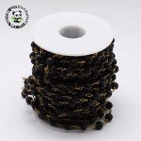 Handmade Natural Lava Beaded Chains for Necklaces Bracelets Making, with Brass Findings, Unplated, 6.5mm; about 10m/Roll
