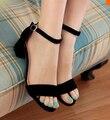 Большой размер 34 - 43 мода толстые med-каблуки платформы сандалии туфли для женщин сексуальный свободного покроя пряжка ремень летом туфли