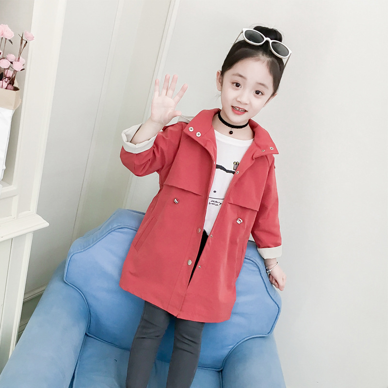 2019 Girls Solid Color Jacket Jacket Simple Fashion   Trench   Coat