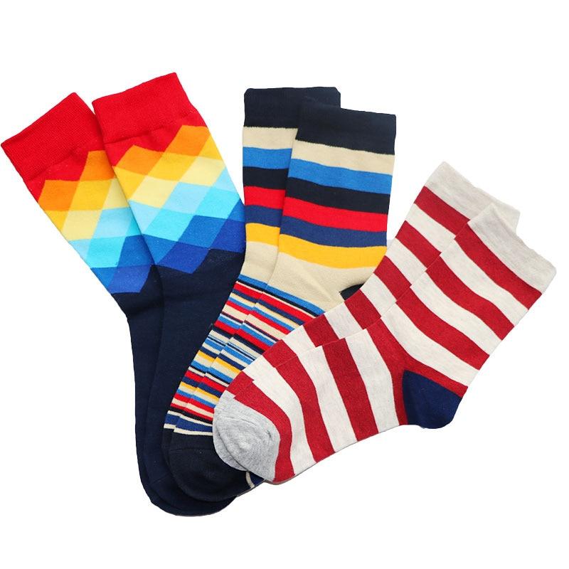 3Pair Men Color Stiped Socks Hip Hop Sock For Men 3D Print Gradient Color Business Dress Socks Short Novelty Socks Meias