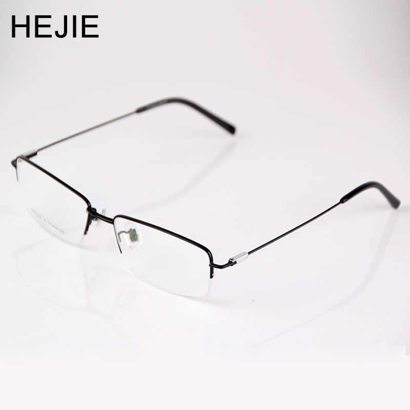 a23430693f67 HEJIE Grade Men Pure Titanium Eyeglasses Frames Brand Half Rim Clear Lens  Optical Glasses Frames For