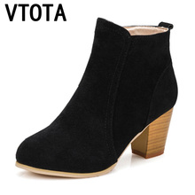 VTOTA Autumn Women Boots High Heels Zipper Martin Boots Women Ankle Boots With Thick Suede Leather Boots Botas Mujer H139