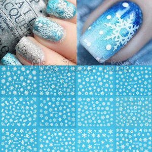 Image 1 - Christmas Snowflake Snow Styles Large 3D Nail Art Nail Stickers Decal Tips White Xmas Reindeer Feather Self adhesive